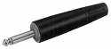 "187B -Switchcraft 1/4"" Mono 2 Conductor Plug with ""A"" Series body w/Cable Clamp, Regular Cable Bushing - Black Finish"
