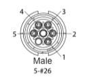 EN2C5M26DC - 5 PIN Male, #26 Contact, Solder Cup/Crimp, DC Grommets