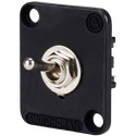 EHTSLB- Switchcraft toggle switch, locking, DPDT, black flange