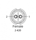 EN2C2F20DC - 2 PIN Female, #20 Contact, Solder Cup/Crimp, DC Grommets
