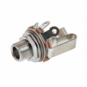 """L12B-Switchcraft 1/4"""" Stereo 3 Conductor Jack w/Nut & Washer, .375"""" Long Bushing, Double Open Circuit"""