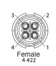 EN2C4F22DC - 4 PIN Female, #22 Contact, Solder Cup/Crimp, DC Grommets