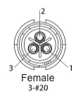 EN2C3F20DC - 3 PIN Female, #20 Contact, Solder Cup/Crimp, DC Grommets