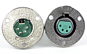 C3M - Switchcraft C Series Circular Panel Mount 3 Pin XLR Male, mounts w/#5 Screws (Not included) - Silver Pins / Nickel Finish