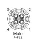 EN2C4M22DC - 4 PIN Male, #22 Contact, Solder Cup/Crimp, DC Grommets