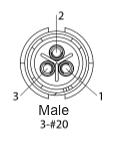 EN2C3M20DC -Switchcraft 3 PIN Male, #20 Contact, Solder Cup/Crimp, DC Grommets