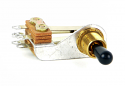 12016X -Switchcraft SPST(NC) - Right angle, bright brass finish, welded silver contacts