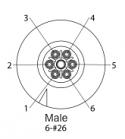 EN2P6M26 - 6 PIN Male, #26 Contact, Solder Cup/Crimp