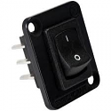 EHRRSLB- Switchcraft Curved Rocker switch, I/O, DPDT, black flange