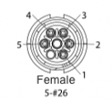 EN2C5F26DC - 5 PIN Female, #26 Contact, Solder Cup/Crimp, DC Grommets